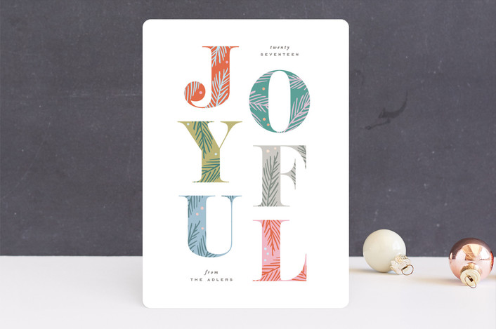"""""""Joyfully Decorated"""" - Holiday Cards in Creamsicle by Hooray Creative."""