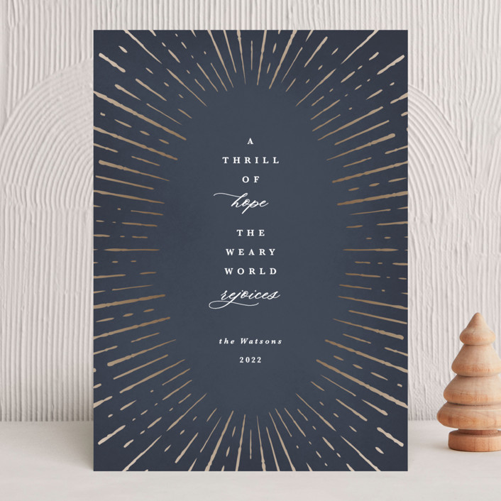 """""""hopeful statement"""" - Bohemian Holiday Cards in Midnight by Kate Ahn."""