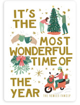 This is a green non photo holiday card by Shiny Penny Studio called See the Most Wonderful Time of the Year with standard printing on signature in standard.
