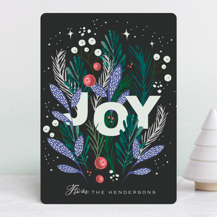 """""""FOIL JOY"""" - Holiday Cards in Night by Hannah Williams."""