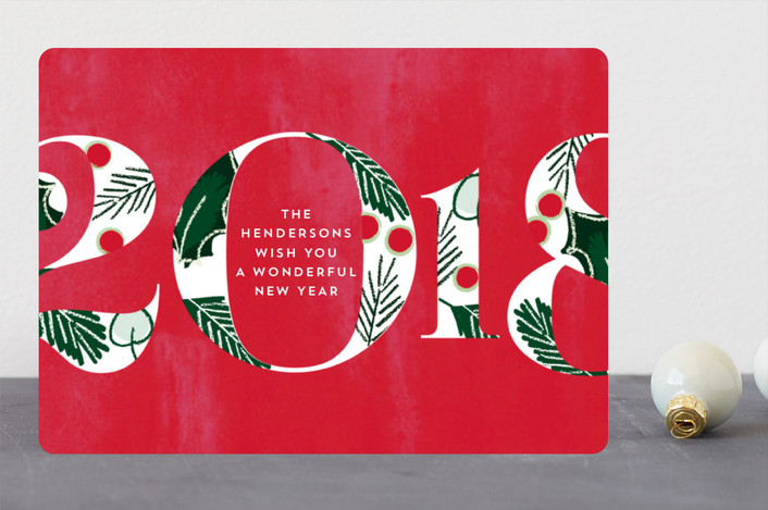 """Joyful Fade"" - Holiday Cards in Holly Berry by Baumbirdy."