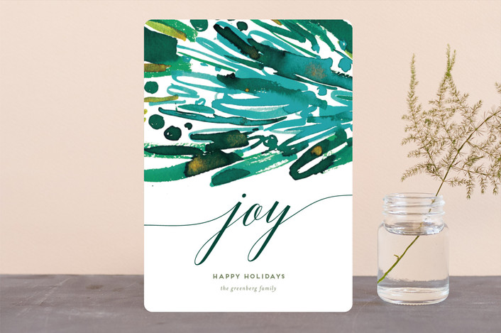 """Joy Stack"" - Modern Holiday Cards in Forest by Simona Cavallaro."