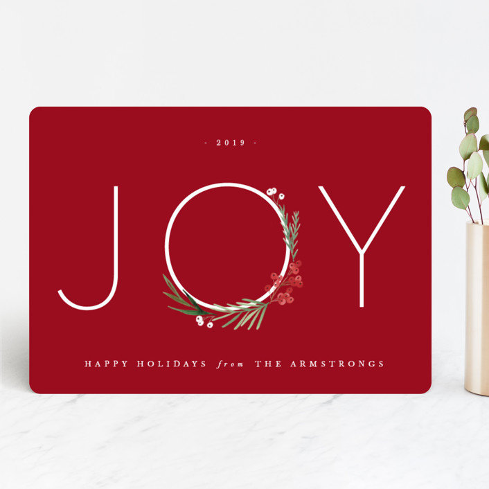 """""""Chic Joy"""" - Holiday Cards in Currant by Kate Ahn."""