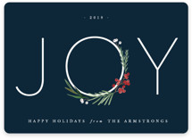 This is a blue non photo holiday card by Kate Ahn called Chic Joy with standard printing on signature in standard.