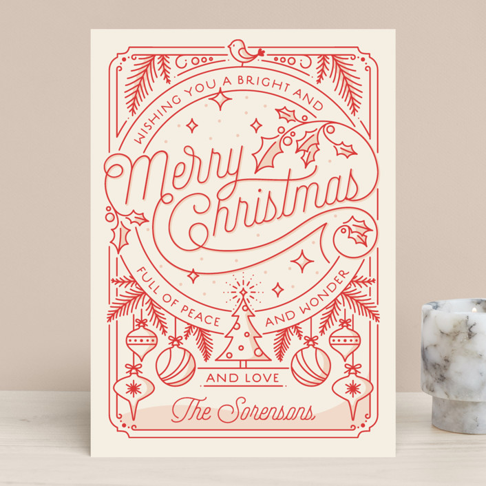"""Merry Little Lines"" - Vintage Holiday Cards in Santa Claus by GeekInk Design."