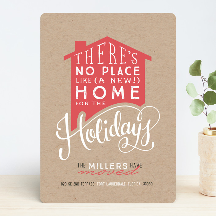 """No Place Like Home"" - Modern, Bold typographic Holiday Cards in Kraft by Makewells."