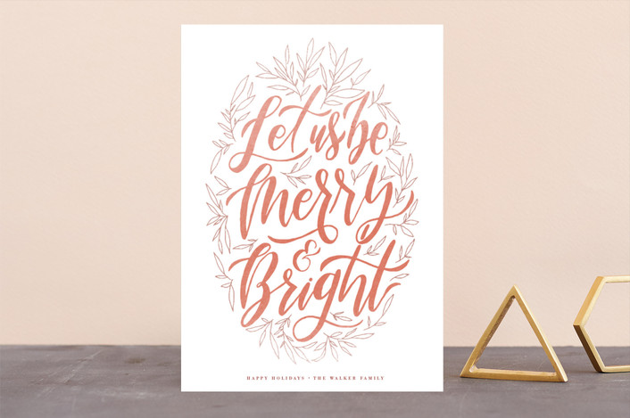 """""""Let Us Be Merry"""" - Holiday Cards in Persimmon by Grace Kreinbrink."""