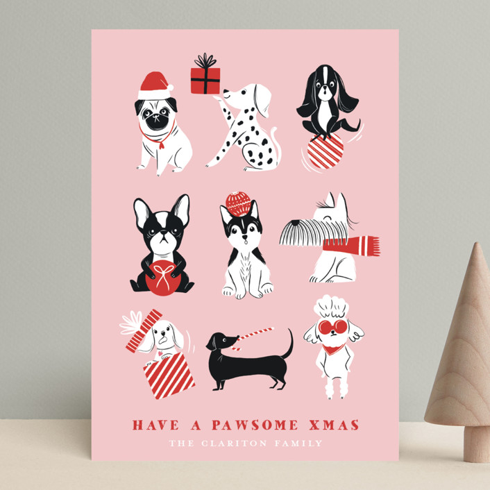 """""""Pawsome Xmas"""" - Funny Holiday Cards in Blush by Vivian Yiwing."""