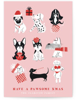 This is a pink non photo holiday card by Vivian Yiwing called Pawsome Xmas with standard printing on signature in standard.