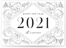 This is a grey non photo holiday card by GeekInk Design called New Year Deco with standard printing on signature in standard.