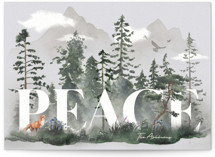 This is a grey non photo holiday card by GeekInk Design called Tranquil Forest with standard printing on signature in standard.