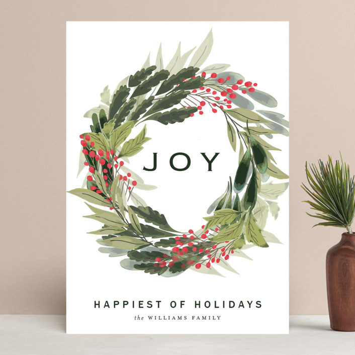 """""""sweet wreath of joy"""" - Holiday Cards in Berry by frances."""