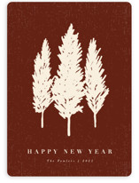 This is a red non photo holiday card by Kate Ahn called Cypress with standard printing on signature in standard.