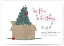 This is a red non photo holiday card by Elky Ink called New Home For The Holidays with standard printing on signature in standard.