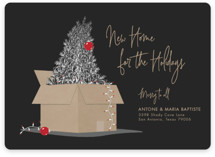 This is a black non photo holiday card by Elky Ink called New Home For The Holidays with standard printing on signature in standard.