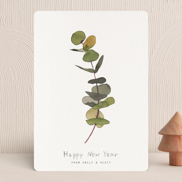 """""""eucalyptus"""" - Holiday Cards in Chartreuse by jinseikou."""