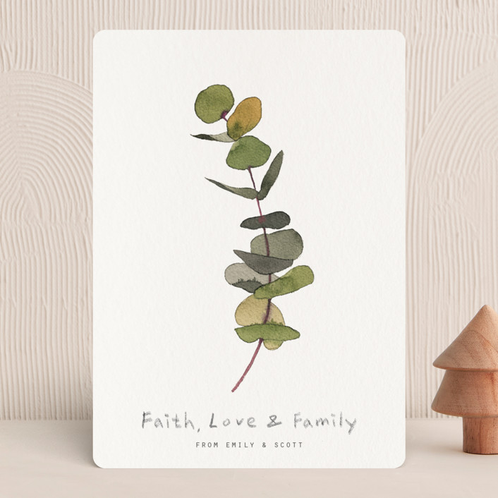 """eucalyptus"" - Holiday Cards in Chartreuse by jinseikou."
