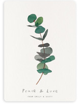 This is a green non photo holiday card by jinseikou called eucalyptus with standard printing on signature in standard.