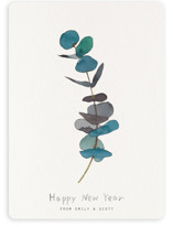 This is a blue non photo holiday card by jinseikou called eucalyptus with standard printing on signature in standard.