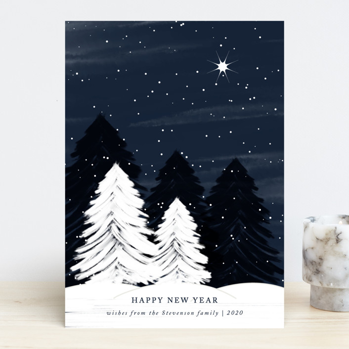 """""""White Christmas"""" - Holiday Cards in Midnight by Roopali."""