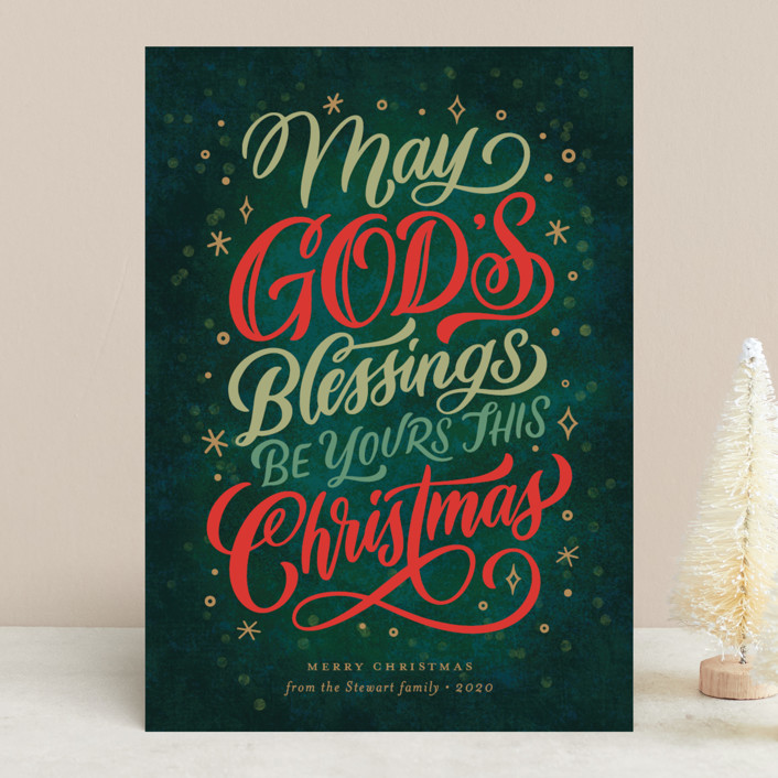 """""""God's Blessings"""" - Vintage Holiday Cards in Evergreen by Laura Bolter Design."""