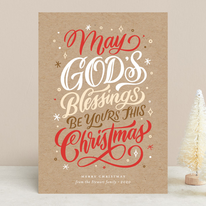 """""""God's Blessings"""" - Vintage Holiday Cards in Kraft by Laura Bolter Design."""