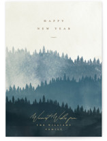 This is a blue non photo holiday card by Robert and Stella called Wooded Hills with standard printing on signature in standard.