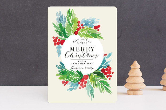 """Holiday watercolors"" - Holiday Cards in Cream by Alexandra Dzh."