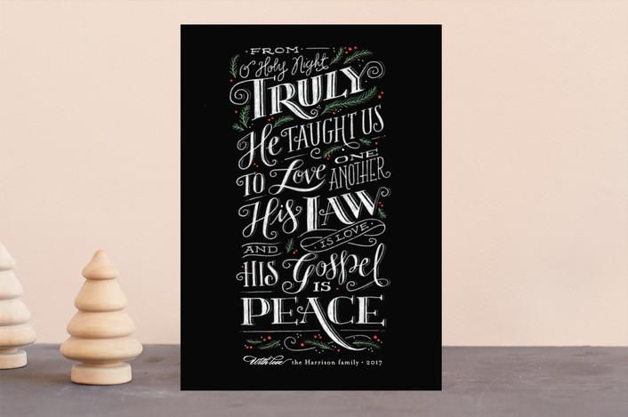 """""""Gospel of Peace"""" - Holiday Cards in Chalkboard by Jennifer Wick."""