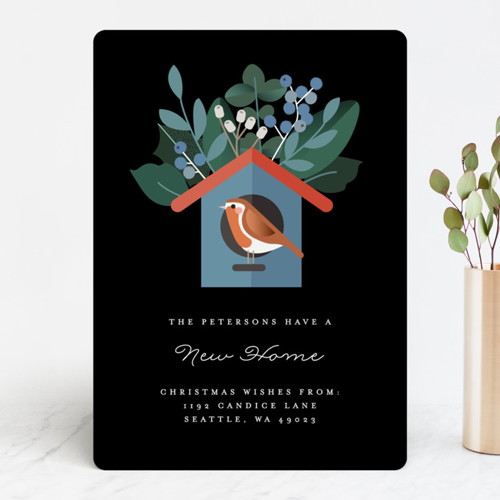 """""""The Bird House"""" - Holiday Cards in Blackboard by Bonjour Berry."""