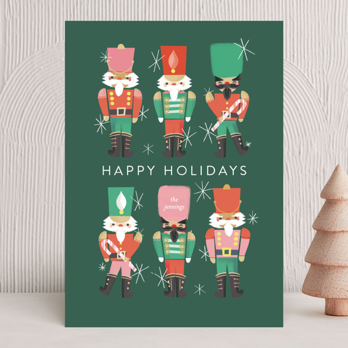 """""""Nutcrackers"""" - Vintage Holiday Cards in Evergreen by Itsy Belle Studio."""
