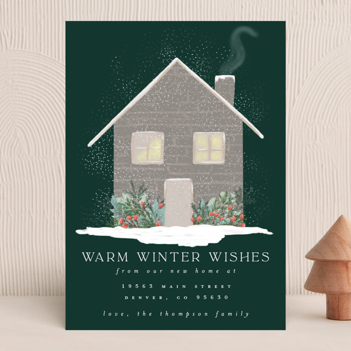 """""""Warm Winter Wishes"""" - Vintage Holiday Cards in Pine by Ashlee Townsend."""