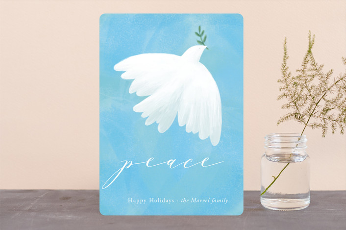 """Peace"" - Holiday Cards in Sky Blue by Alexandra Dzh."