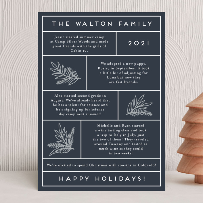 """Simple Family Letter"" - Holiday Cards in Navy by Katharine Watson."