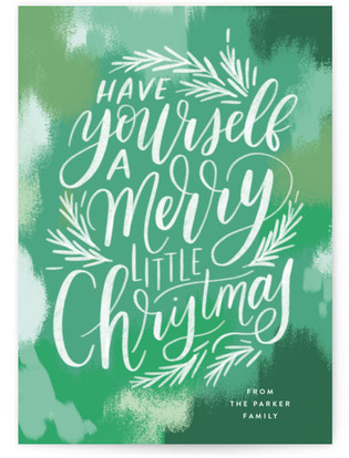 Brush Stroke Lettering Holiday Non-Photo Cards