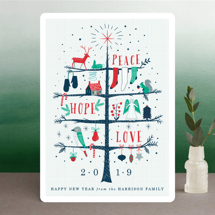 """Holiday Tree"" - Holiday Cards in Teal by Eve Schultz."