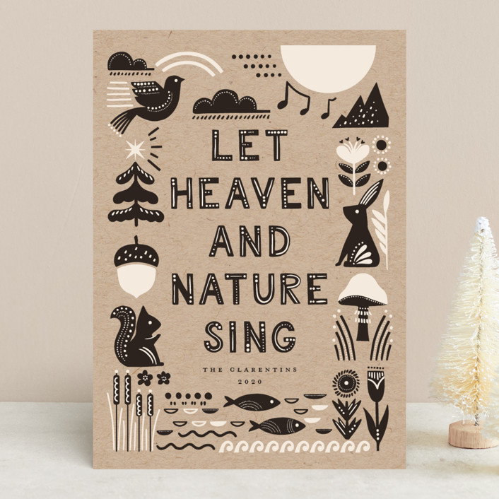"""""""Let Heaven and Nature Sing"""" - Bohemian Holiday Cards in Charcoal by Vivian Yiwing."""