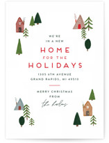 This is a white non photo holiday card by Amy Kross called New Home For The Holidays with standard printing on signature in standard.
