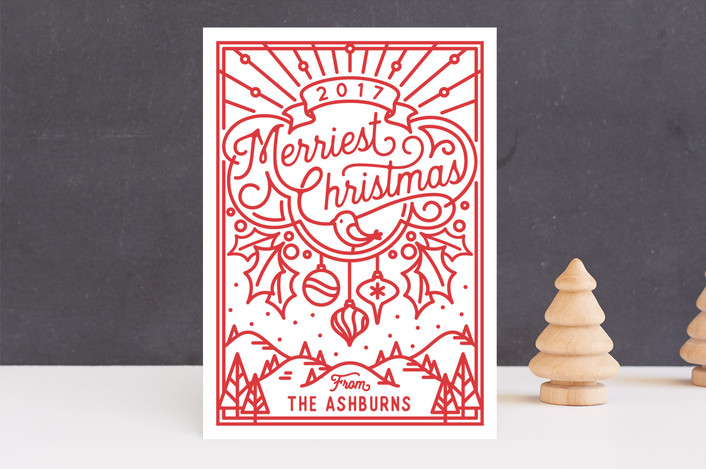 """""""Merriest Christmas"""" - Vintage Holiday Cards in Candy Cane by GeekInk Design."""