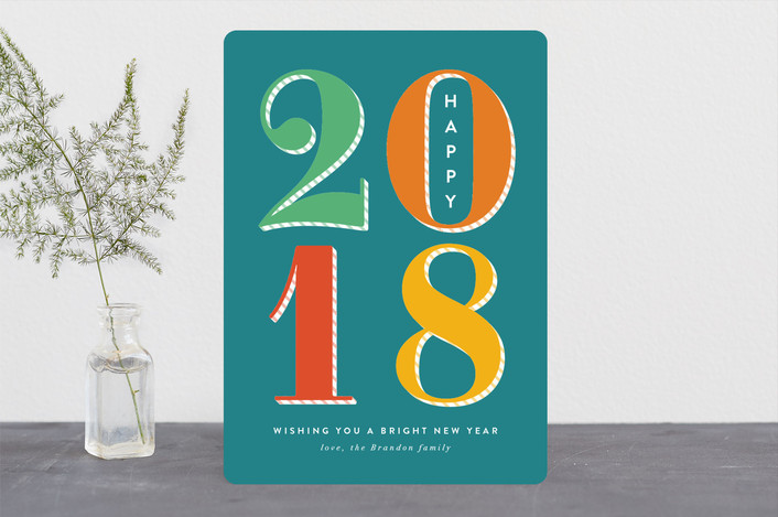 """""""Bright New Year"""" - Holiday Cards in Aqua by Amy Payne."""