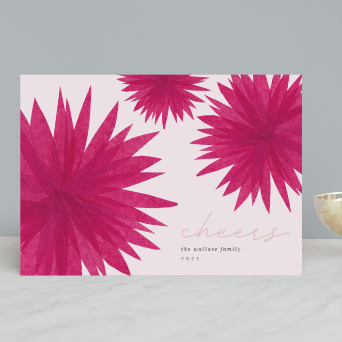 """""""Modern Poinsettia"""" - Modern Holiday Cards in Magenta by Carrie Moradi."""