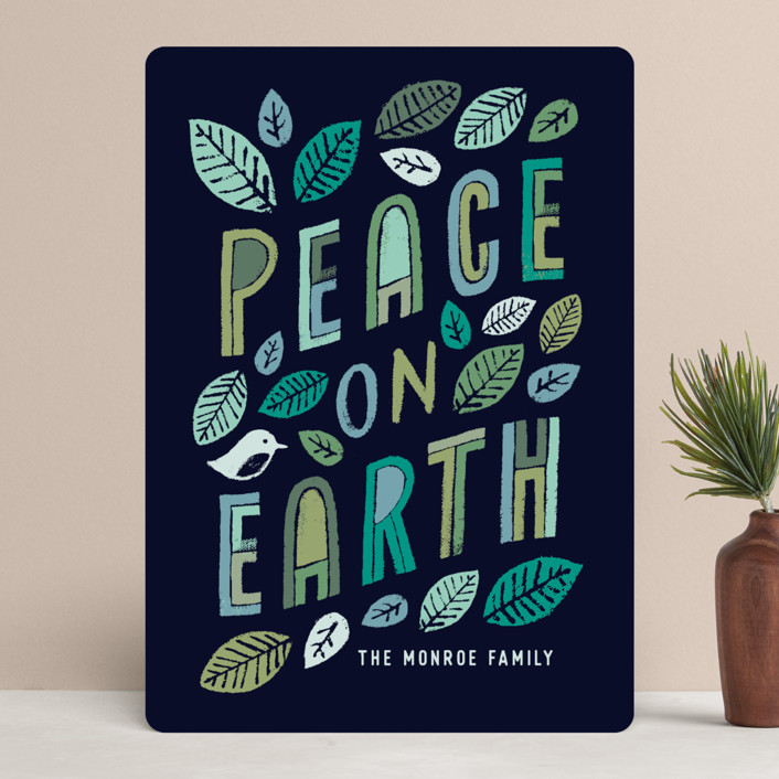 """""""Green Peace"""" - Bohemian Holiday Cards in Midnight by Hooray Creative."""