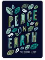 This is a blue non photo holiday card by Hooray Creative called Green Peace with standard printing on signature in standard.