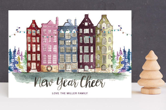 """A Holiday Abroad"" - Holiday Cards in Velvet by Kelsey McNatt."