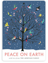 This is a blue non photo holiday card by Eve Schultz called Peace on Earth with standard printing on signature in standard.
