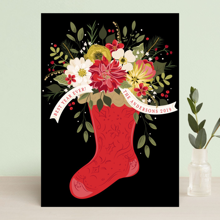 """Flowers for Christmas"" - Holiday Cards in Crimson by Susan Moyal."