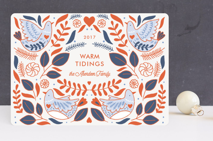 """""""Fanciful Pheasant"""" - Vintage Holiday Cards in Tangerine by Paper Raven Co.."""