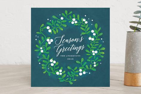 Festive Mistletoe Wreath Holiday Cards