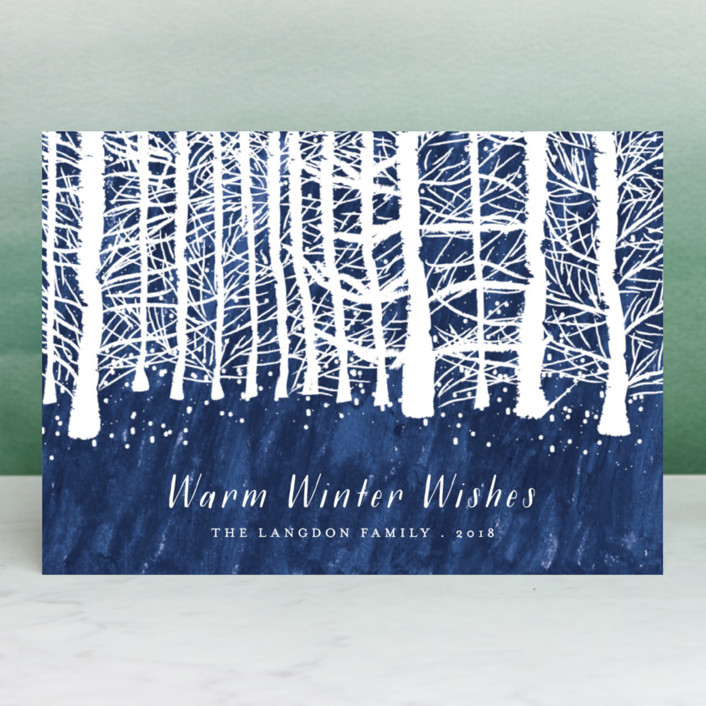 """""""Wintry forest"""" - Holiday Cards in Midnight by Kanika Mathur."""