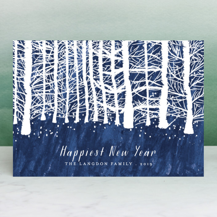 """Wintry forest"" - Holiday Cards in Midnight by Kanika Mathur."